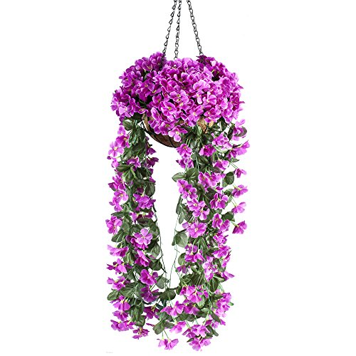 Mixiflor Hanging Flowers, Artificial Violet Flower Wall Wisteria Basket Hanging Garland Vine Flowers Fake Silk Orchid Simulation Rattan Plant Vine Wedding Home Garden Balcony Floral Decoration