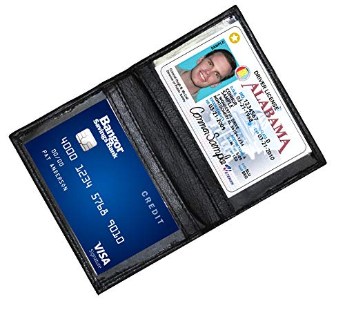 Ashlin Genuine Leather Double ID Holder. Drivers License|MetroPass| Mini-Wallet| Black [7503-07-01]