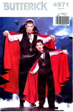 [Butterick 4971 Sewing Pattern Mens Dracula Costume Cape Vest Pants Chest 30 - 44] (Butterick Mens Costume Patterns)