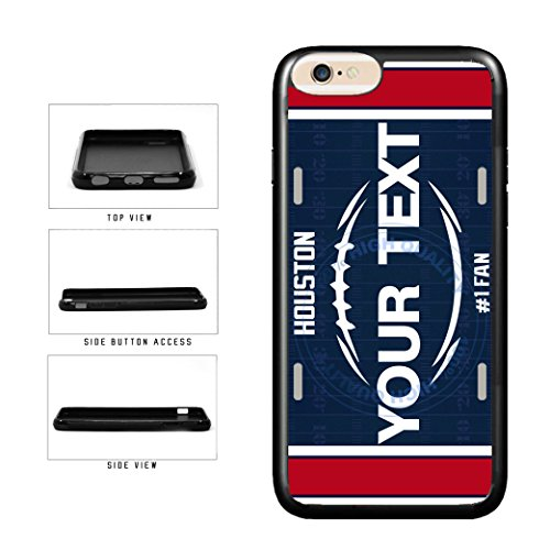 BleuReign(TM) Personalized Custom Name Football Houston License Plate TPU RUBBER SILICONE Phone Case Back Cover For Apple iPhone 7 ()
