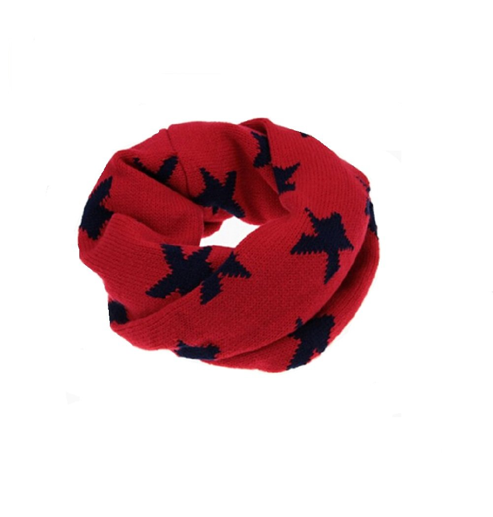 Butterme Unisex Baby Kids Star Design Scarves Winter Warm Soft Knitted Infinity Neck Warmer Loop Scarf Wrap for 1-8 Years Old Kids (Red) ZUMUii