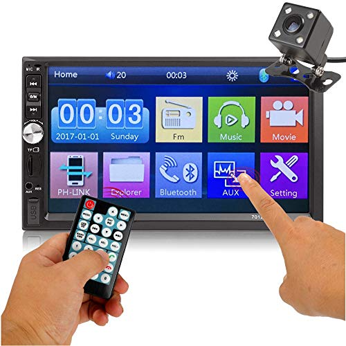 Car Rear View Camera + Ewalite 7 inches Double Din Touchscreen in Dash Stereo Car Receiver Audio Video Player Bluetooth FM Radio Mp3 MP5 / TF/USB / AUX/Steering Wheel Controls + Remote Control