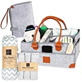 Baby Diaper Caddy Organizer - Registry for Baby Shower Must Haves - Storage Basket - Nursery Decor Essentials - Heavy Duty Felt with Removable Dividers - Rolled Leather Handles and Reinforced Corners