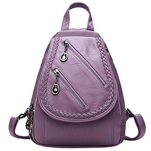 étudiant mode bandoulière à Sacs bandoulière de Violet à double couleur Sansee zip cuir fille Sac dos edge femme à à sac dos sac unie en de BwAwX