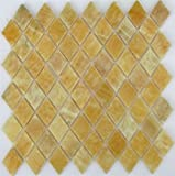 Honey Onyx Diamond Mosaics Polished Meshed on 12x12 Tiles for Backsplash, Shower Walls, Bathroom Floors