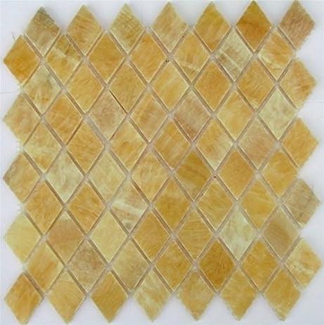 Honey Onyx Diamond Mosaics Polished Meshed on 12x12 Tiles for