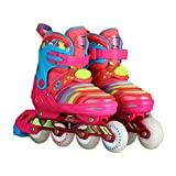 YANGXIAOYU Beginners Children's Inline Skates, Professional Roller Shoes, Anti-Collision Shock Absorbers Aurora Wheel, Backpack + Helmet + Protective Gear, Blue Rose Red