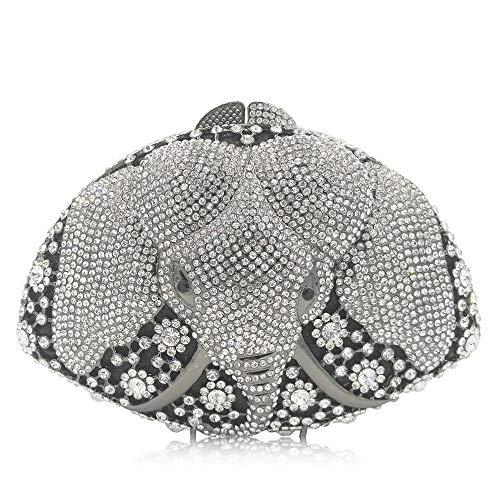 (FeliciaJuan Suede Evening Bag Hand-Studded Rhinestone Elephant Dinner Animal Model Women's Luxury Full Rhinestone Hand Bag (Color : Silver))