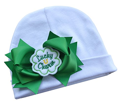 Baby Girl Lucky Charm Shamrock Cotton Hat with Emerald Green Bow By Funny Girl Designs