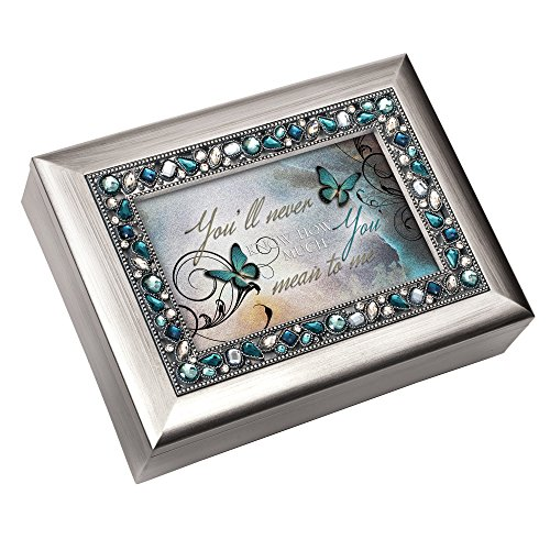 Musical Keepsake Box - You'll Never Know How Much You Mean to Me Musical Music Jewelry Box - Plays What a Wonderful World, Metallic Silver