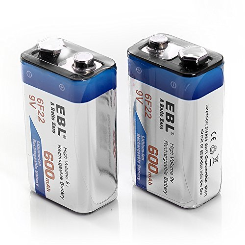 EBL 600mAh 9 Volt Li-ion Rechargeable 9V Batteries Lithium-ion, 2 Pack