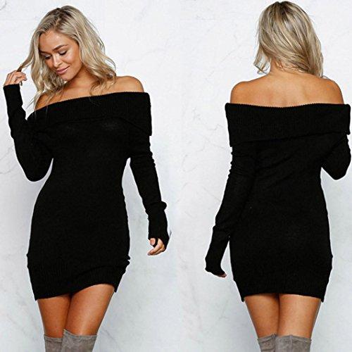 Robe Hiver Outre Robe l'paule Robe Amlaiworld de Manches Chandails longues Noir Bodycon sexy Femme tricot tqCzwxF