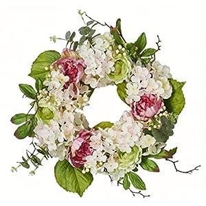 "Silk Flower Arrangements Worth Imports 22"" Hydrangea Peony Wreath"