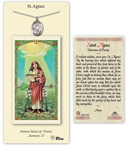Carded Pewter Medals by Bliss Mfg. Pewter Saint Agnes of Rome Medal with Laminated Holy Prayer Card
