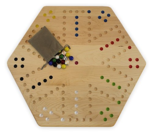 """Large Maple Hand-Painted 24"""" Wooden Aggravation Game Board,"""