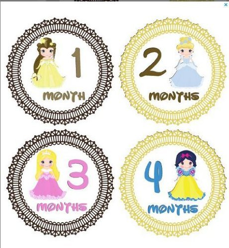 (Monthly Stickers Monthly Baby Girl Disney Princesses Stickers Month Stickers Disney Snow White Cinderella Belle Waterproof Baby Shower)