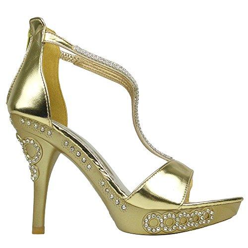 Sandali Eleganti Da Donna Impreziositi Da Cinturino Con Tacco Alto In Oro