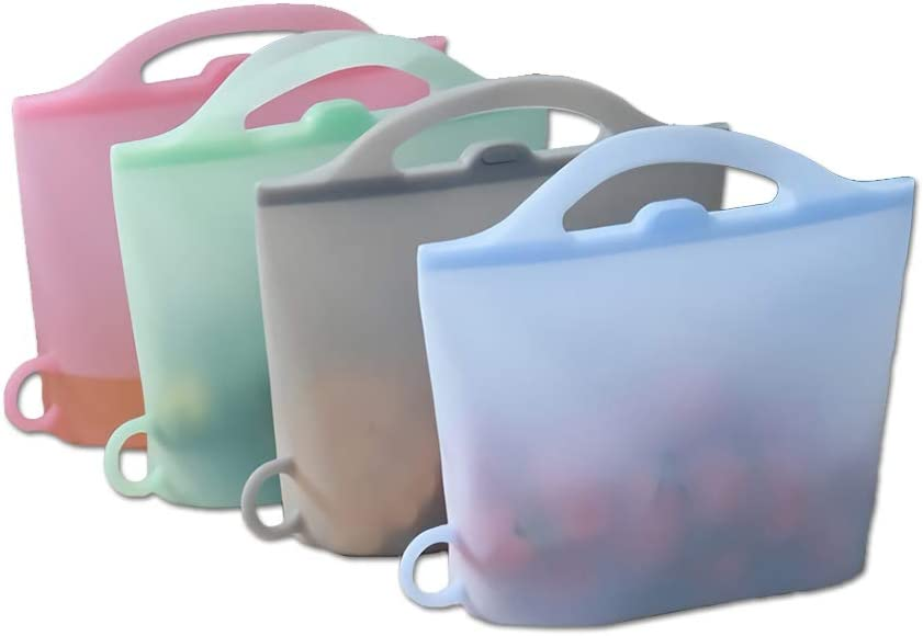 Creative Silicone Bag,Reusable Storage bags, Sealed Frozen Food Is Divided Into Portable Storage Bags, a Group of 4