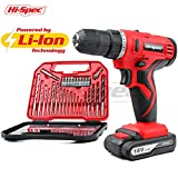 Hi-Spec 18V Pro Cordless Combo Drill Driver with 1500 mAh Lithium-Ion Battery, 2 Gears, 19 Position Keyless Chuck, Variable Speed Switch & 30 Piece Drill and Screwdriver Bit Accessory Set