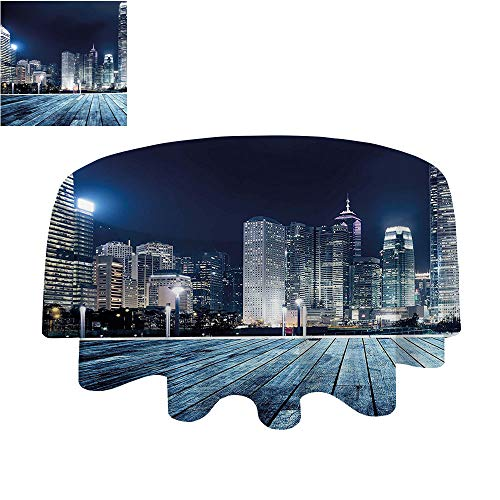 SATVSHOP Premium tablecloth-70Inch-Daily use.Landscape Asia China Hong Kong City Skyline View at Blue Night Towers and Skyscapers Photo Navy Blue. ()