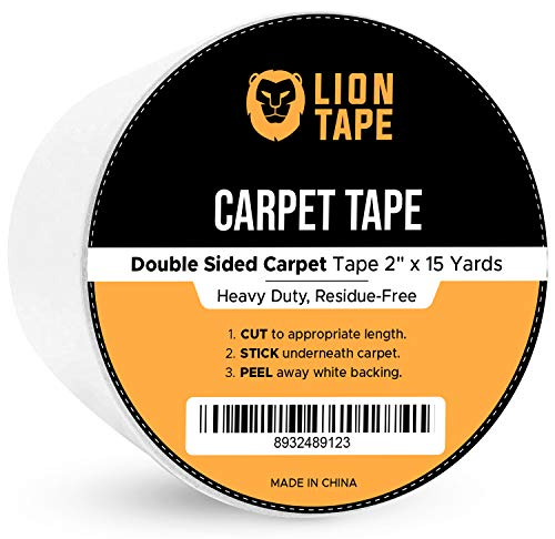 Carpet Tape - Double Sided Tape for Area Rugs Carpet Adhesive Rug Gripper Removable Multi-Purpose Rug Tape Cloth for Hardwood Floors,Outdoor Rugs,Carpets.Heavy Duty Sticky Tape,2Inch x 15 Yards,White