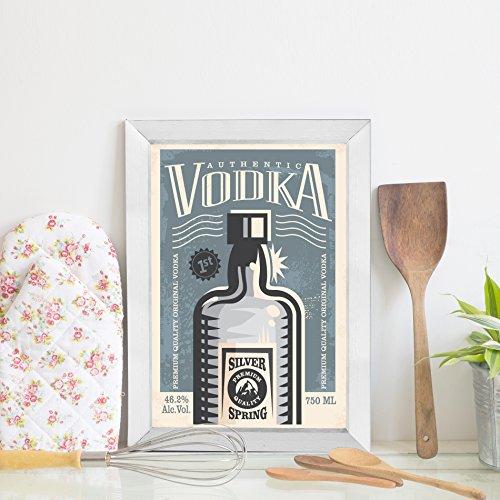Quadro Decorativo Bebida Vintage Vodka 22x32 Moldura Branca
