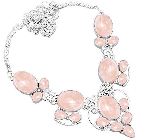 925 Silver Plated 55.50ctw Genuine Rose Quartz - Quartz Rose Necklace Genuine