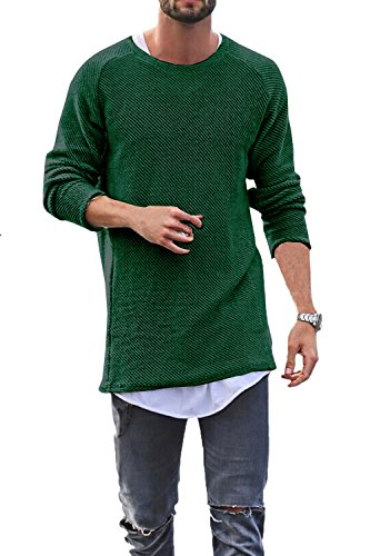 Men's Fashion Leisure Round Neck Baggy Long Sleeve Beige Knit Sweaters (Large, Green) by Daomumen