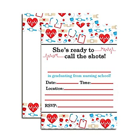 Nursing School Graduation Party Invitations 20 5x7 Fill In Cards With Twenty White Envelopes By AmandaCreation