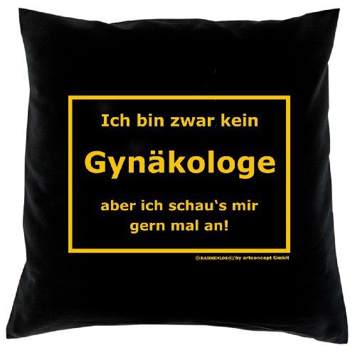 Deko Kissen mit Füllung, Sofakissen Couchkissen in schwarz, kein Gynäkologe, lustiges Geschenk zum ersten Date