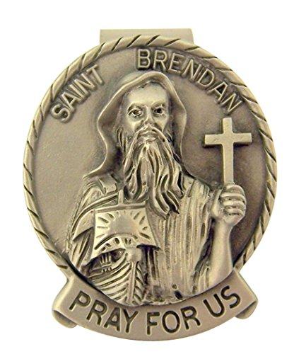 - Pewter Catholic Saint St Brendan Medal Visor Clip, 2 Inch