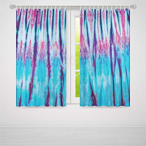 ALUONI Living Room Curtains,Tie Dye Decor,Living Room Bedroom Curtain,Close Up Vertical Gradient Tie Dye Figures Hippie Alter Life Retro Artwork2 Panel Set,79W X 83L Inches