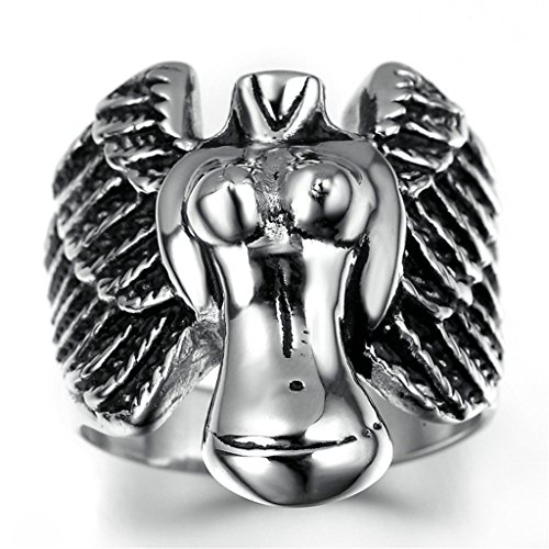 Nose'n Around Wolf Nose (Stainless Steel Ring for Men, Engel Ring Gothic Silver Band 2530MM Size 11 Epinki)