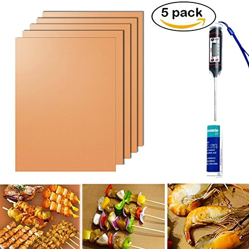 Egoelife Non-stick Grill Cooking Mat Food Thermometer for Microwave Oven BBQ Meat Liquid Oil Milk Temperature (5, Copper ()