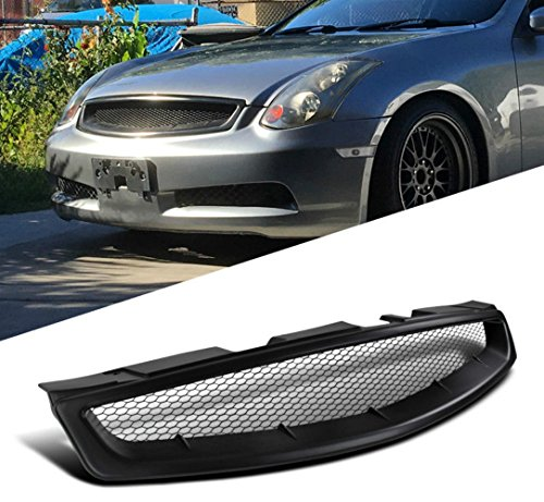 USAuto Black ABS Front Hood Mesh Style Grill Grille for 2003-2007 INFINITI G35 2DR COUPE MODELS ONLY