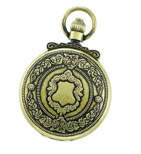 Charles-Hubert-Paris-3864-G-Classic-Collection-Gold-Plated-Antiqued-Finish-Hunter-Case-Quartz-Pocket-Watch