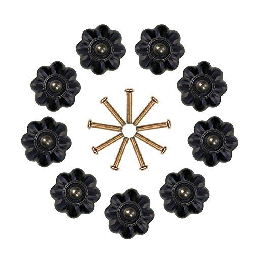 Kitchen Pumpkin - Noniu Cupboard Knobs, 35mm Pumpkin Drawer and Kitchen Handles Dresser Cabinet Knob- 9 Pack (Black)