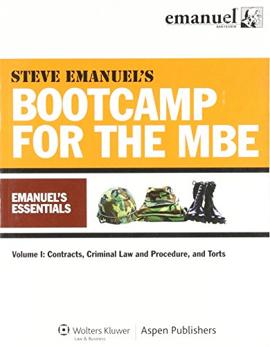 Mbe Bootcamp : Emanuels Essentials Vol 1: Contr Crim Law Pro (Mbe Boot)