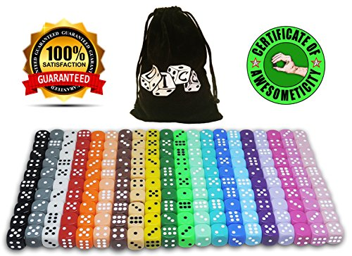 200 Dice Set, 20 Different Colors, 10 Dice Of Each Color, 16mm D6 Acrylic Dice, FREE Velvet Carry Bag, Great For Games Like: Tenzi, Farkle, Yahtzee, Bunco Or Teaching Math