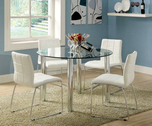 Furniture of America Clarks 5-Piece Dining Set with White Chairs -