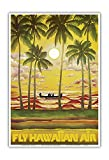 Pacifica Island Art Hawaii - Fly Hawaiian Air - Hawaiian Airlines - Vintage Airline Travel Poster c.1960s - Master Art Print - 13in x 19in
