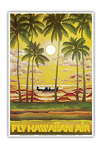 - Hawaii - Fly Hawaiian Air - Hawaiian Airlines - Vintage Airline Travel Poster c.1960s - Master Art Print - 13in x 19in