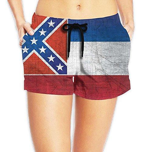 Vintage Mississippi Flag Women Color Fashion Bathing Suits Pants Pocket ()