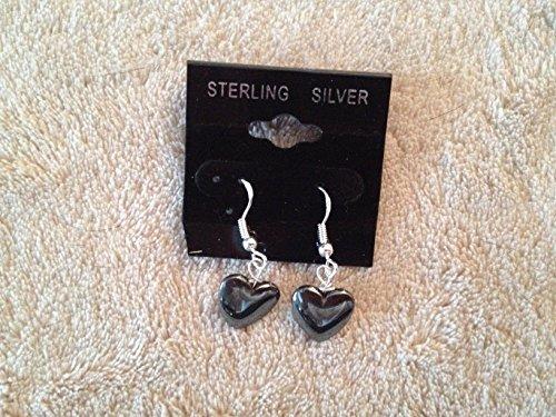 - natural hematite gemstone heart sterling silver dangle earrings