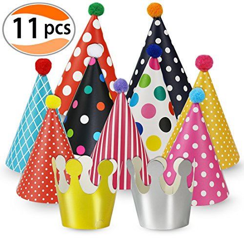 Cefanty Party Hats 11 Pack Fun Cone Party Hats for Kids or Adults By (Toddler Party Hat)