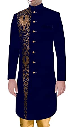 e7d57be130 INMONARCH Men Sherwani Royal Outfit Wedding Sherwani Blue Velvet with  Amazing Embroidery Work SH15141ES34 34 Short