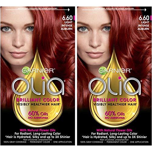 Garnier Olia Bold Ammonia Free Permanent Hair Color (Packaging May Vary), 6.60 Light Intense Auburn, Red Hair Dye, 2 Count