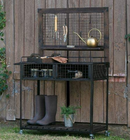 Potting Bench with Wheels and S Hooks and 2 Large Drawers KOVALENTHOR Wood and Metal Potting Bench for Garden