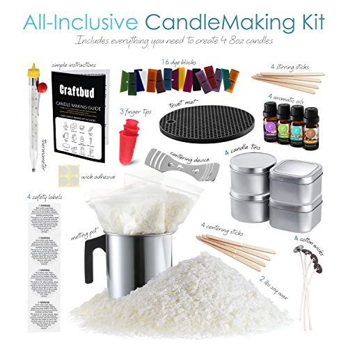 Candle Making Kit, Craftbud 58 Piece Candle Making Kit for Adults & Kids, Full DIY Soy Candle Making Kit with Candle Wax…