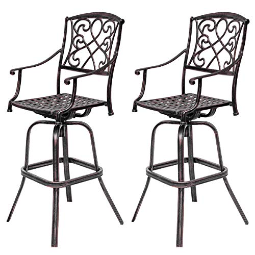 Vintage Swivel Bar Stool 30 Inch Patio Furniture Antique Cast Aluminum Outdoor Set of 2 ()